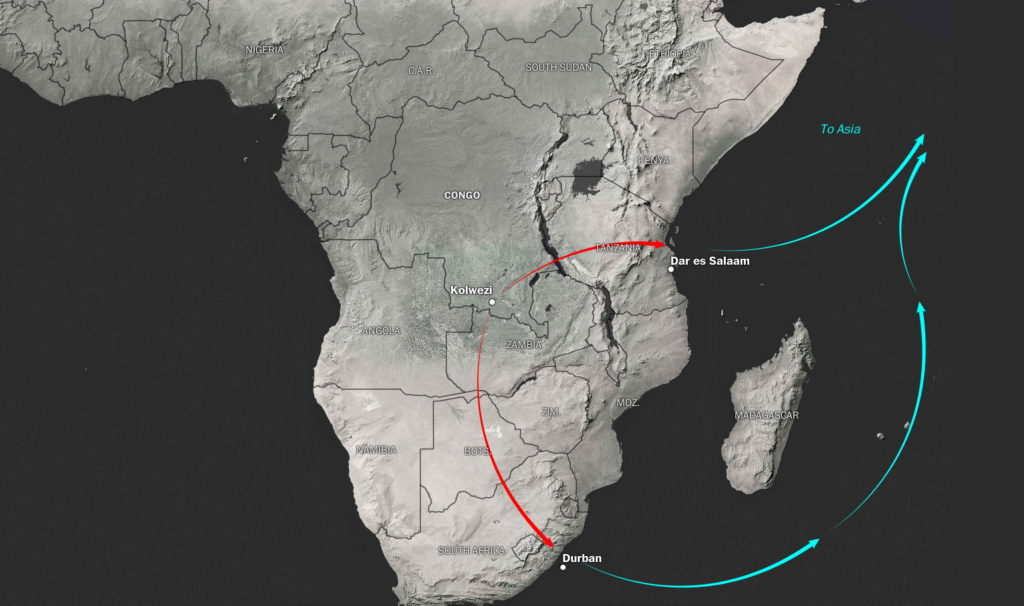 Έπειτα φτάνει στα λιμάνια της Τανζανίας ή της Νότιας Αφρικής. Από εκεί, το περισσότερο κοβάλτιο μεταφέρεται στην Ασία, έδρα της πλειοψηφίας των εταιρειών που κατασκευάζουν μπαταρίες ιόντων λιθίου.