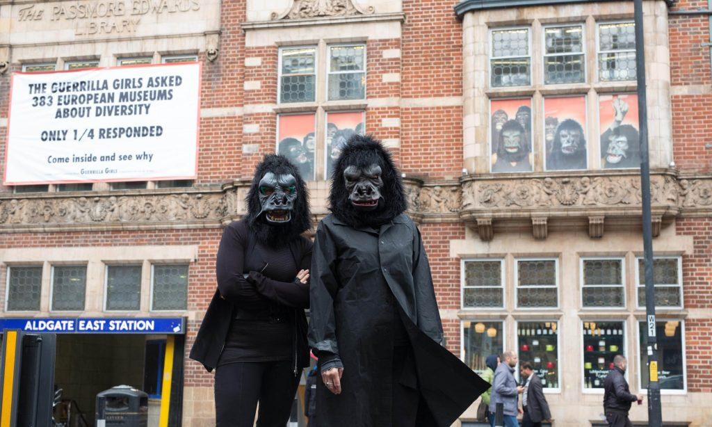 The Guerrilla Girls … fighting back against gender bias in the arts. Photograph: David Parry/PA